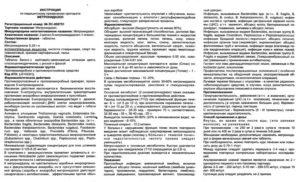 Инструкция по применению Метронидазол 250мг